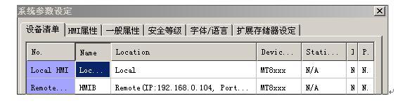 利用EB8000的仿真功能,PC可以透过以太网络撷取HMI上的数据,并可以使用档案方式保存这些数据。 PC也可以利用控制HMI上的系统保留缓存器(LB与LW),直接控制HMI。相对的,HMI也可以直接控制PC的行为表现,例如要求PC储存HMI或PLC上的数据。 一台PC可以控制不限数目的HMI。 假使PC欲通讯的对象为与两台HMI (HMI A与 HMI B),则PC端所使用MTP档案的设定步骤如下: 步骤一 设定各 HMI 的IP(详情请参考相关章节),假使HMI A与 HMI B的IP已分别设定为&l